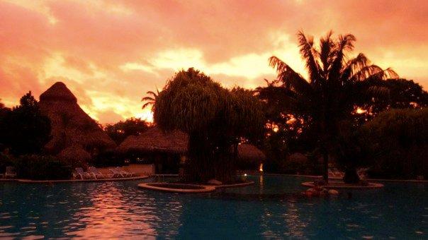 Sunset over Tiki Bar & Lagoon
