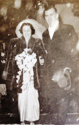 MomDadWedding nyc 1948_xmas collage